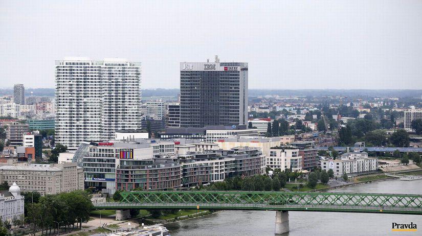 Bratislava, Starý most, Dunaj, domy, budovy
