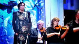 Operná diva Anna Netrebko v šatách od Borisa Hanečku na pražskom koncerte v Obecnom dome.