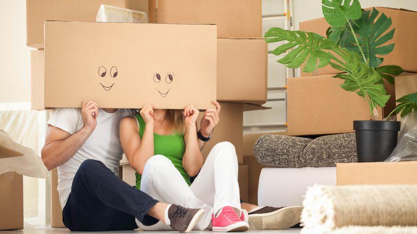 sťahovanie, škatule, úsmev