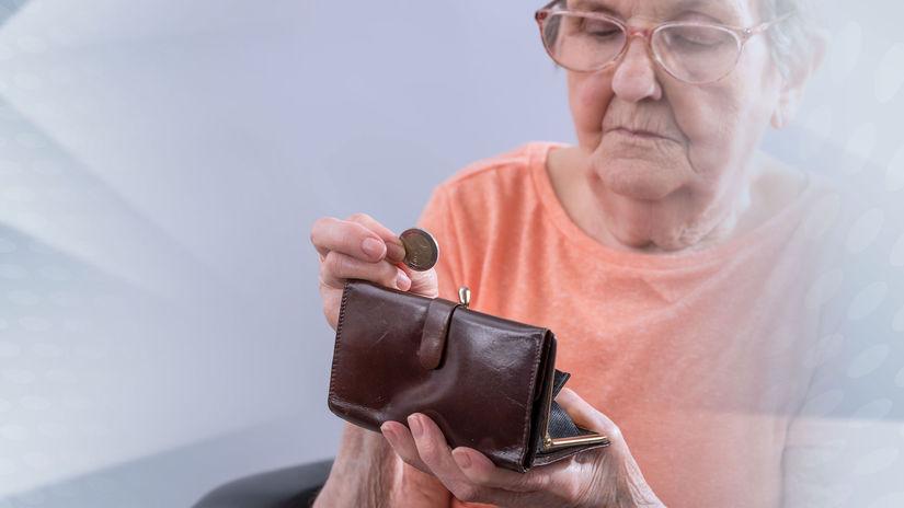 dôchodkyňa, peňaženka, peniaze, dôchodok