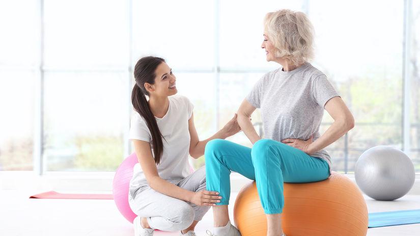dôchodkyňa, seniorka, cvičenie, fit