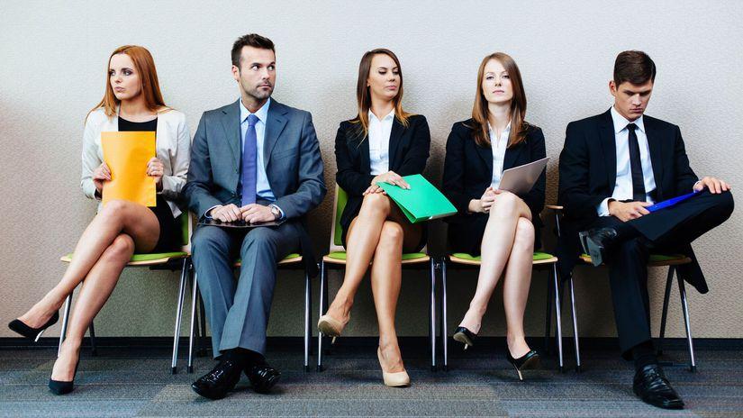 pohovor, čakanie, ľudia, stoličky