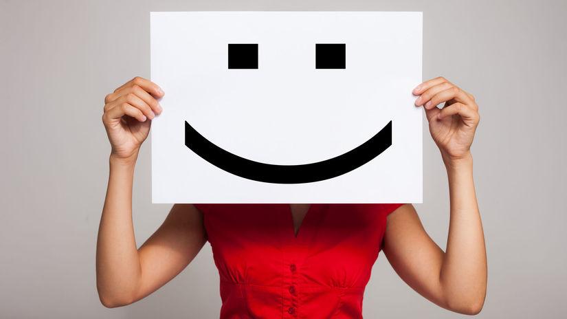 žena, smajlík, úsmev, pretvárka