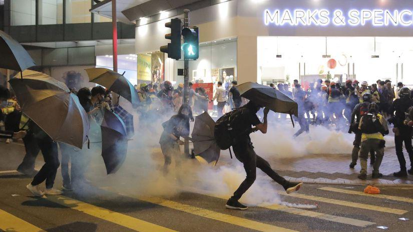 Hongkong protest polícia demonštrácia