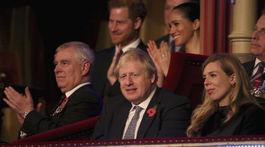 Princ Harry a jeho manželka Meghan v pozadí - usadení za britským premiérom Borisom Johnsonom (dolu v strede).