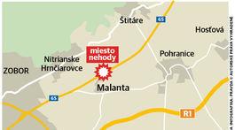 mapa, nehoda, autobus, Nitra