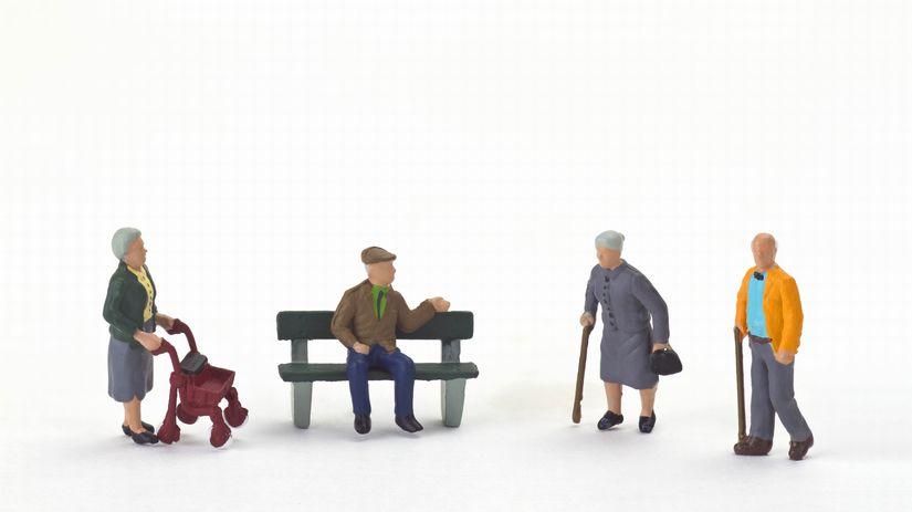 dôchodcovia, penzisti, chodítko, lavička
