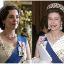 Herečka Olivia Colman (vľavo) stvárňuje v novej sérii The Crown kráľovnú Alžbetu II. Vpravo archívny záber skutočnej kráľovnej z roku 1973.