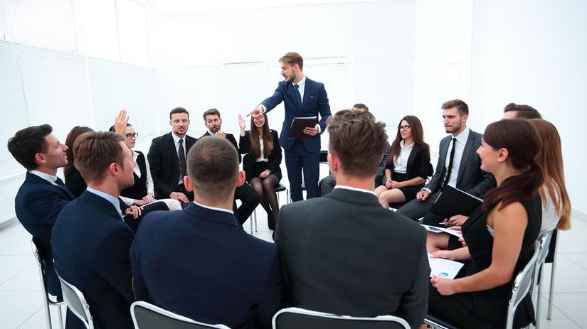 skupina, školenie, stoličky, kruh