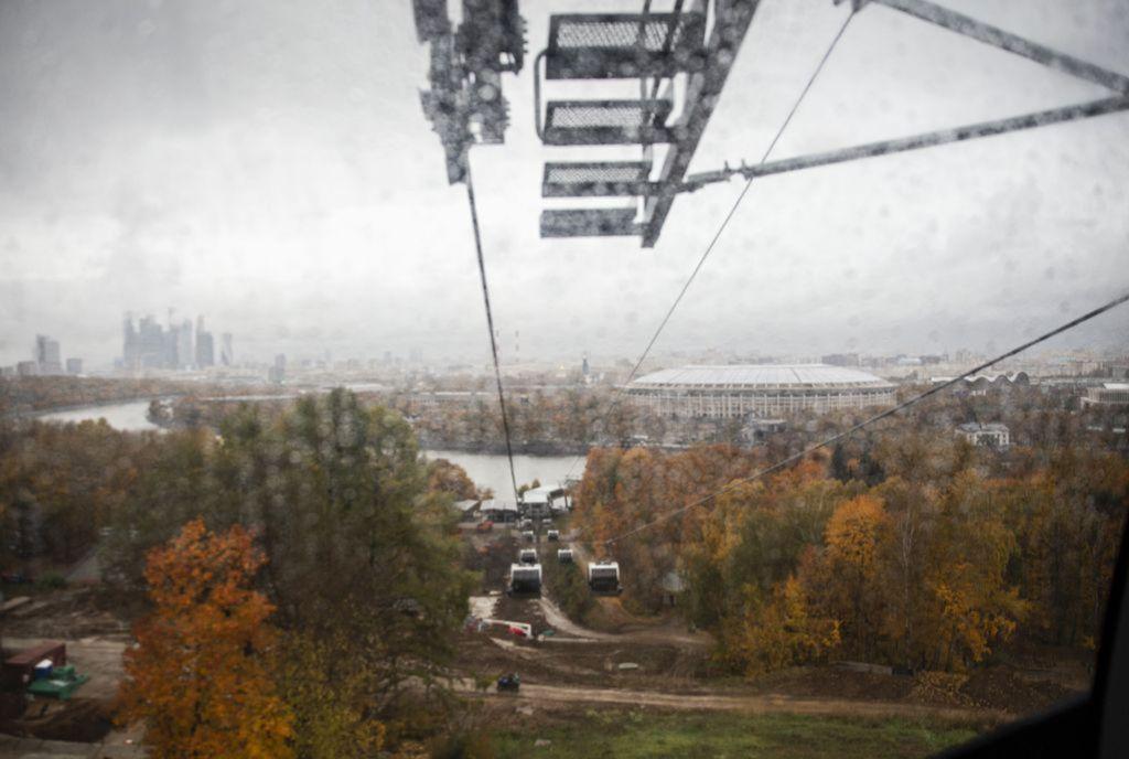 Rusko, lanovka, dážď, Moskva