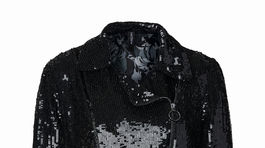 Čierny flitrovaný kabátik, skrátený, z dielne Marc Cain. Info o cene v predaji mClasse Bratislava.