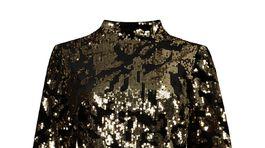 ff Šaty so stojačikovým golierom a flitrovým vzorom F&F. Predávajú sa za 30 eur.