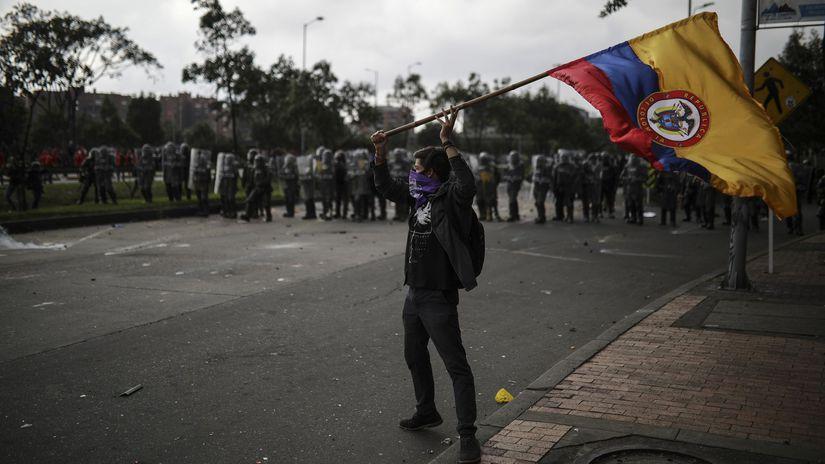 kolumbia protest demonštrácia