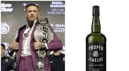 Zápasník Conor McGregor je tiež mužom, ktorý investoval do biznisu s destilátmi. Na obrázku vpravo je jeho whisky Proper No. Twelve Irish Whiskey.