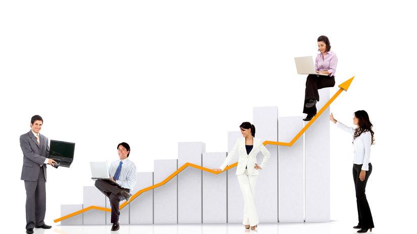 ľudia, graf, rast, stúpanie