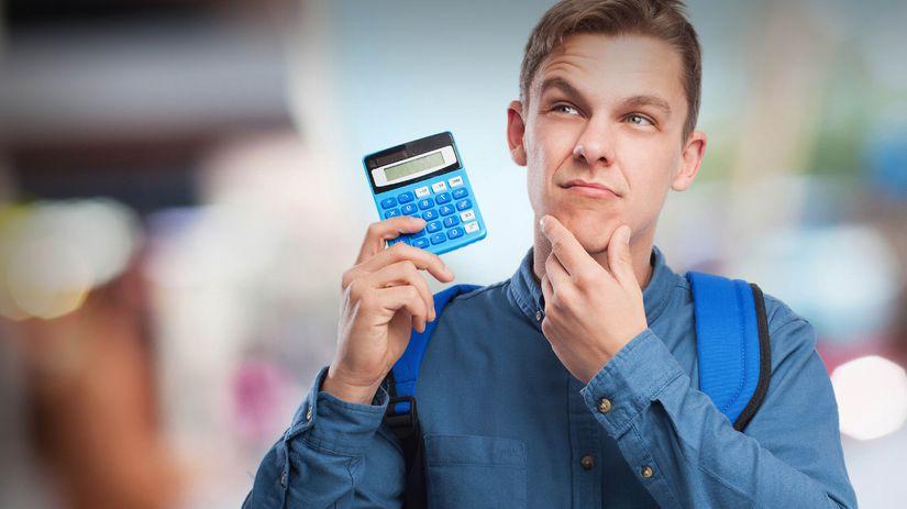 počítať, kalkulačka, muž, rozmýšľať