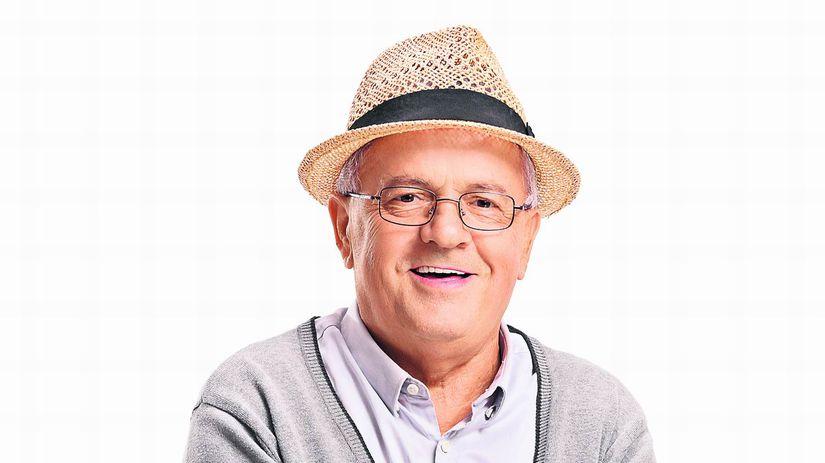 dôchodca, palička, klobúk, úsmev