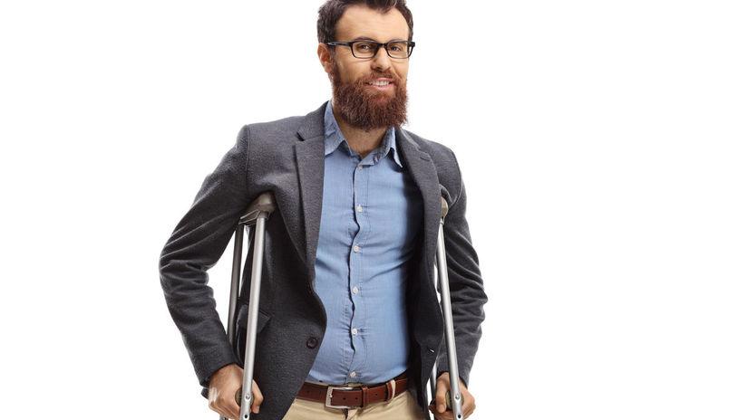 muž, barle, invalid