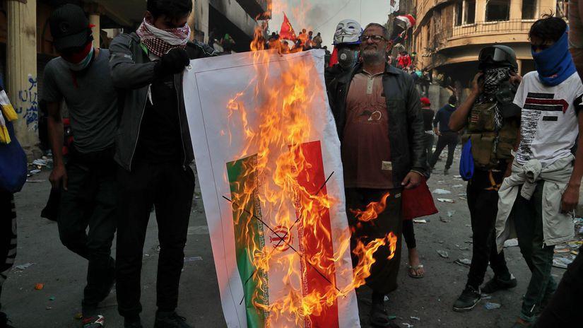 Irak Protest pálenie vlajky