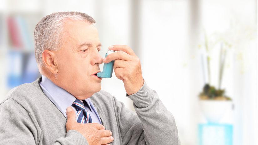 inhalátor, muž, choroba, astma, pľúca