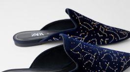 Zamatové nazúvacie šlapky Zara. Predávajú sa za 29,95 eura.
