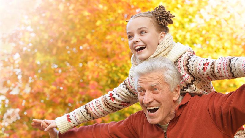 dedko, vnučka, senior, dieťa, radosť, staroba