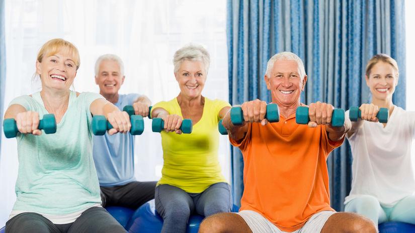 seniori, cvičenie, posilovanie