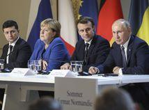 Volodymyr Zelenskyj Angela Merkelová Emmanuel Macron Vladimir Putin