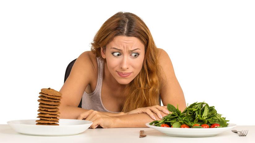 žena, jedlo, stres, dilema, zdravá strava