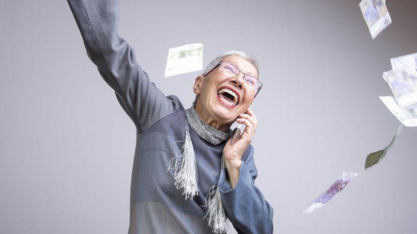 žena, radosť, peniaze, výhra