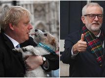 corbyn johnson voľby británia koláž