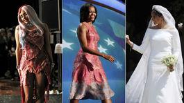 herečka Lupita Nyong'o v roku 2014, speváčka Lady Gaga v roku 2010, bývalá prvá dáma USA Michelle Obama v roku 2012, Meghan Markle v roku 2018 a speváčka Rihanna v roku 2014.