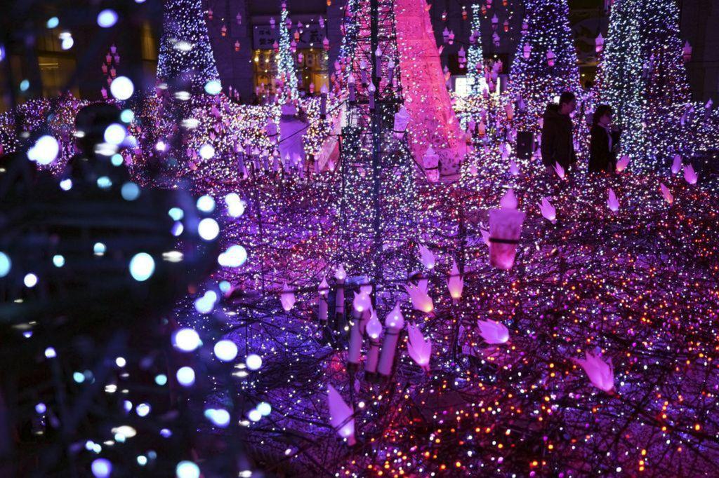 Japonsko, Vianoce, svetielka, Tokio