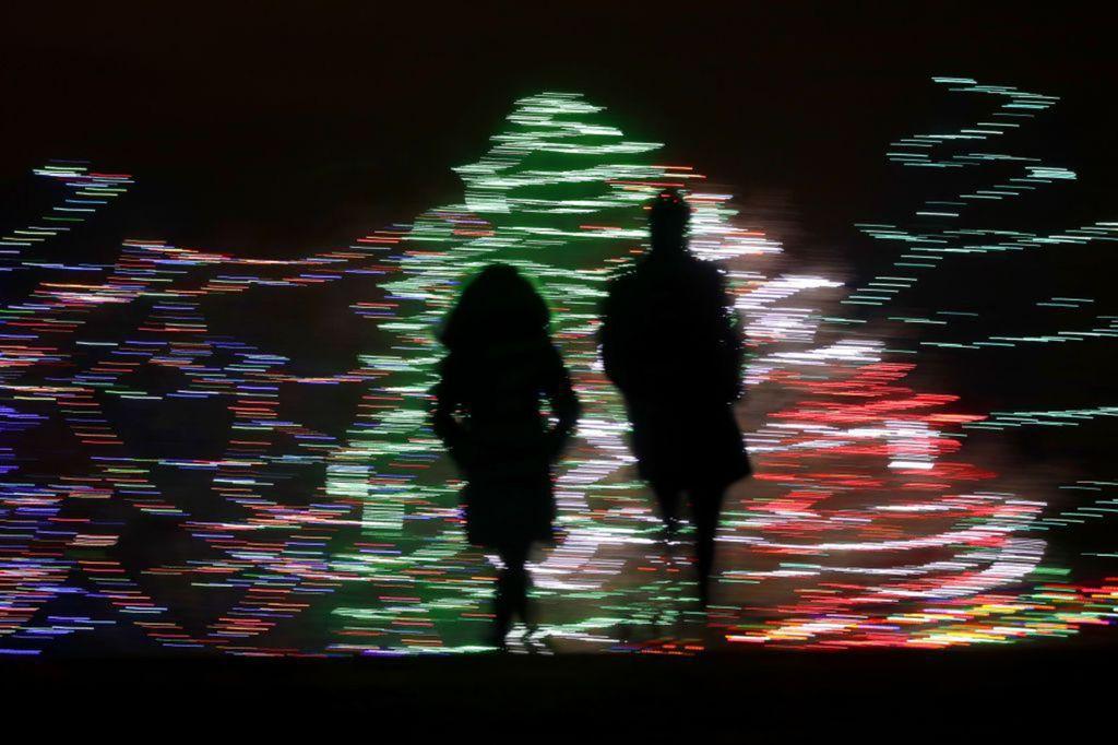 Kansas, svetlá, postavy, dvojica, siluety, Vianoce, vianočný stromček, sviatky