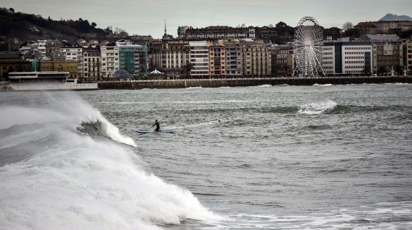 španielsko, počasie, more, vlna, surfer,