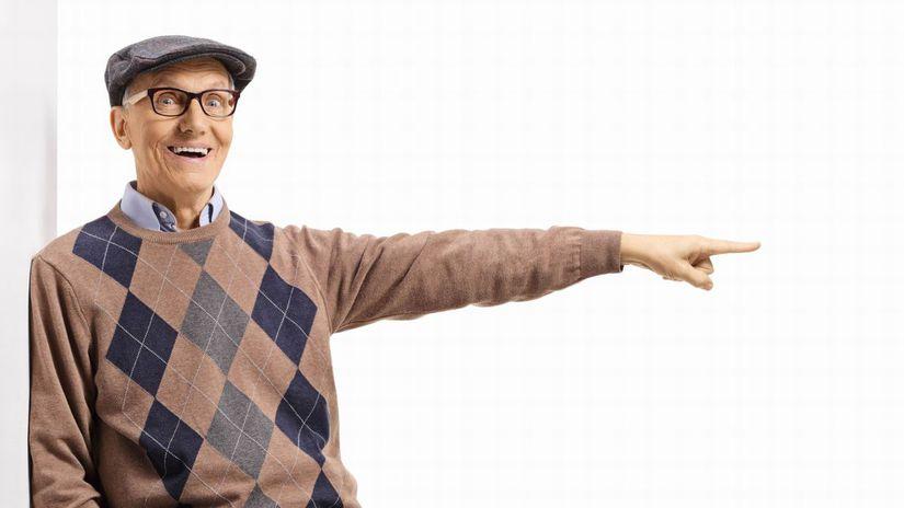 dôchodca, radosť, ukazovanie