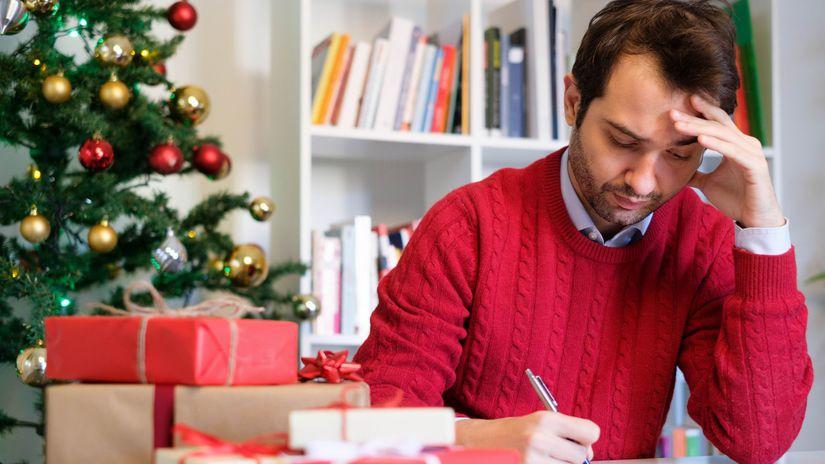 muž, Vianoce, darčeky, rozmýšľanie, papier, pero