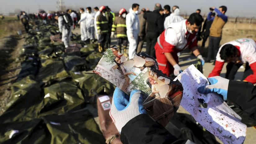 teherán pád lietadla ukrajinského pozostatky...