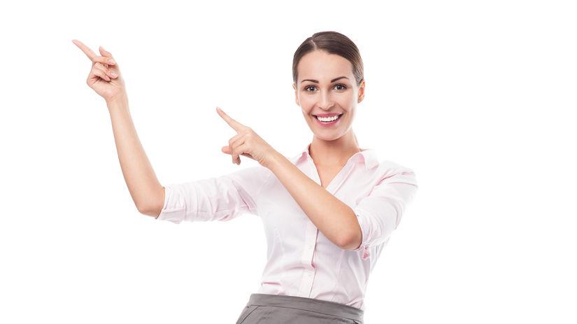 žena, dobrá správa, radosť, ukazovanie