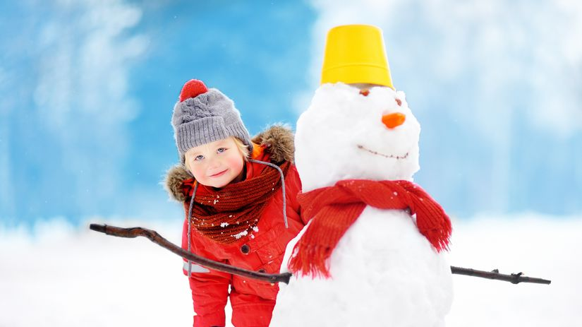 zima, sneh, dieťa, čiapka, snehuliak