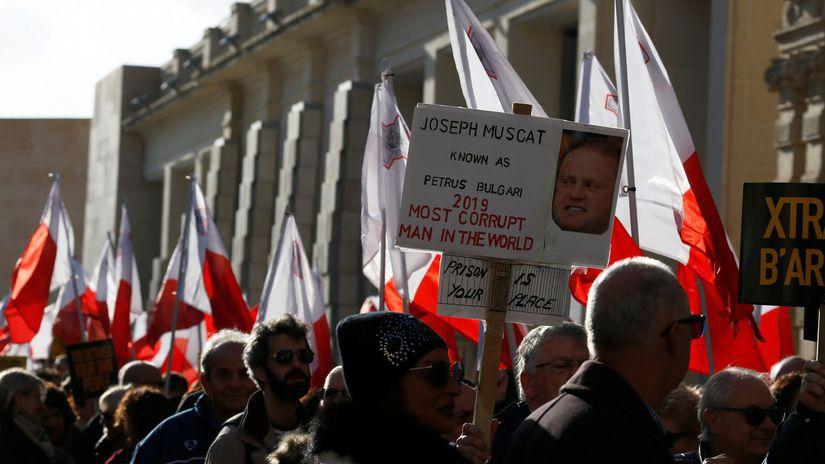 malta protest muscat novinárka daphne Caruanová...