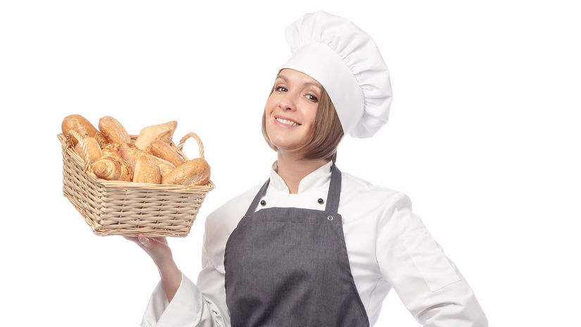 pekárka, pečivo, úsmev