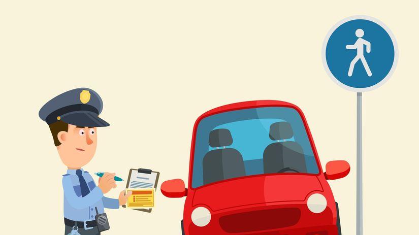 policajt, chodník, parkovanie, auto