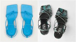 Sandále sú v kurze. A najmä tie s výraznou podrážkou a obdĺžnikovou prednou časťou. Značka Bottega Veneta predáva svoj model (vľavo) za 620 eur, lacnejšiu napodobeninu nájdete v Zara za 59,95 eura.