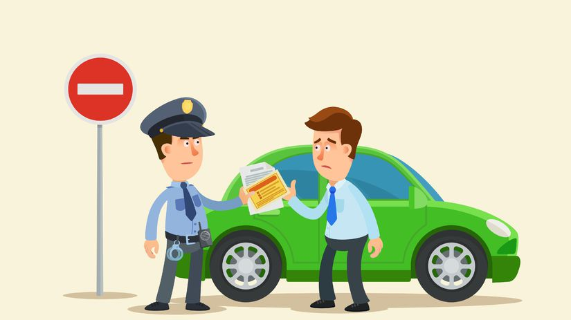 vodič, policajt, pokuta