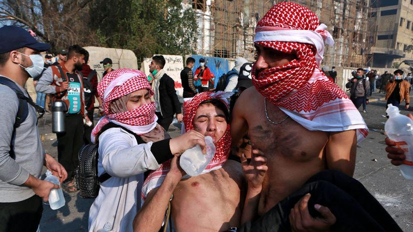Irak Bagdad Protest Polícia demonštrácia