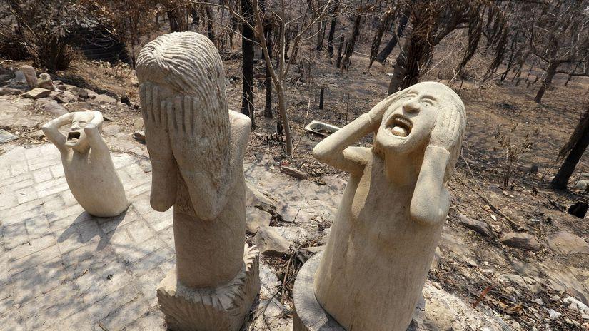 austrália požiare hrôzu sochy wales