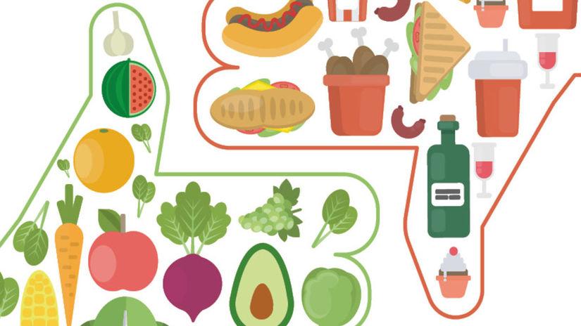 palec hore, palec dolu, zdravé, nezdravé, jedlo,