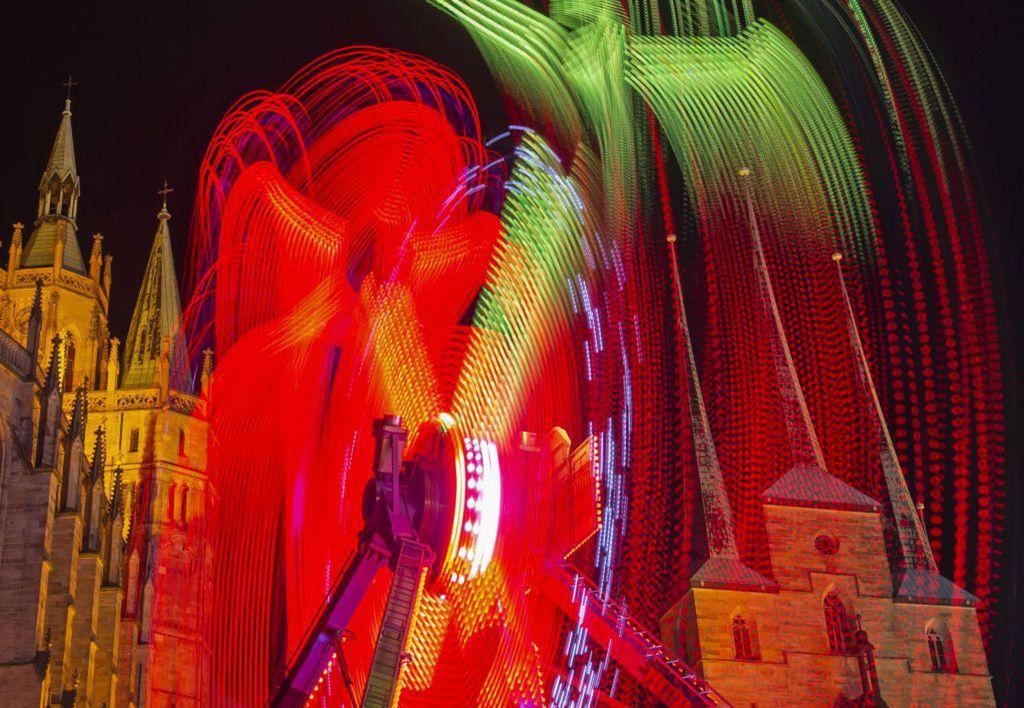 Nemecko, kolotoč, atrakcia, lunapark, ruské kolo, kostol, Erfurt