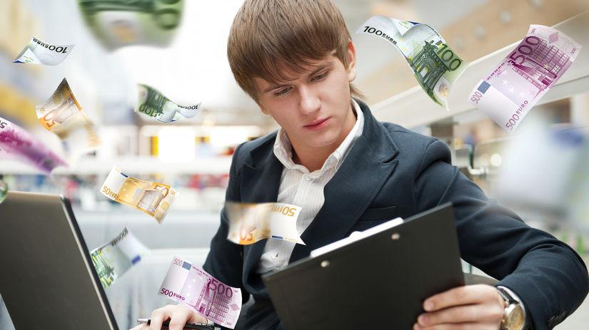 študent, lietajúce peniaze, bankovky, bohatstvo